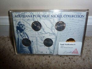 LOUISIANA PURCHASE 5 NICKEL COLLECTION SET IN DISPLAY THOMAS JEFFERSON 24K/HOLO