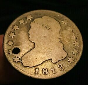 1818 CAPPED BUST QUARTER 25C SHARP DATE AGED US SILVER COLLECTIBLE COIN CC464