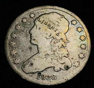 1838 CAPPED BUST QUARTER 25C AGED US COLLECTIBLE SILVER COIN FULL LIBERTY CC494
