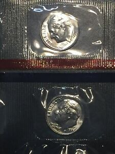 1995 P AND 1995 D GEM BU ROOSEVELT DIMES IN ORIGINAL MINT CELLO PACKS FREE S&H