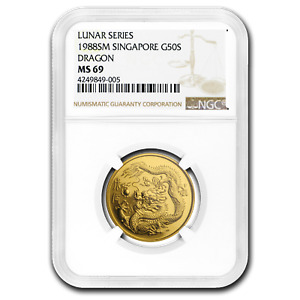 Click now to see the BUY IT NOW Price! 1988 SINGAPORE 1/2 OZ GOLD 50 SINGOLD DRAGON MS 69 NGC   SKU194063
