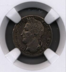 BELGIUM LEOPOLD I ORIGINAL NOT RESTRIKE 1834 1/4 FRANC SILVER COIN  NGC 63 KM 8.