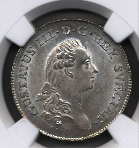 Click now to see the BUY IT NOW Price! 1784 OL SWEDEN GUSTAV III SILVER COIN 1/3 RIKSDALER QUALITY RATED GEM NGC MS64