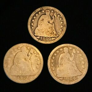 US SEATED LIBERTY DIMES 10C SILVER TYPE COINS LOT 3 COINS 1852 1853 1854 A4