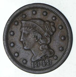 1848 BRAIDED HAIR LARGE CENT   CIRCULATED  9249