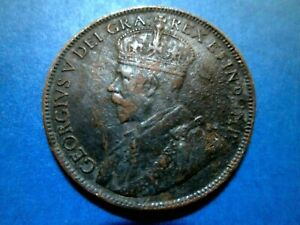 CANADA LARGE ONE CENT 1914 GEORGE V LIGHTLY CIRCULATED