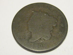 1822 CORONET HEAD LARGE CENT WEAK