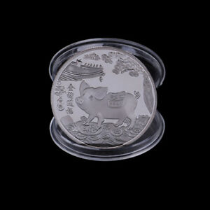 SILVER PLATED PIGS COMMEMORATIVE COINS CHINESE ZODIAC ANNIVERSARY COIN SOUVE@M