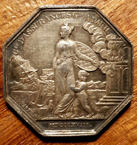 FRANCE 1817  CHILD  PROTECTED FROM CATRASTROPHIES SILVER JETON