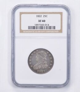XF40 1822 CAPPED BUST QUARTER   GRADED NGC  1386
