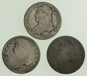 LOT  3  1832 1833 & 1836 CAPPED BUST HALF DOLLARS   CIRCULATED  9007