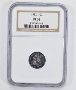 PF66 1882 SEATED LIBERTY DIME   NGC GRADED  2041