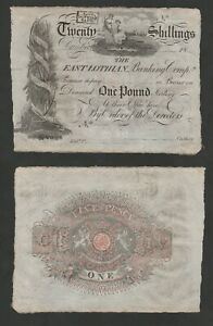 SCOTLAND EAST LOTHIAN BANK 1 20 SHILLINGS 1810 1822 AU UNSIGNED BANKNOTE