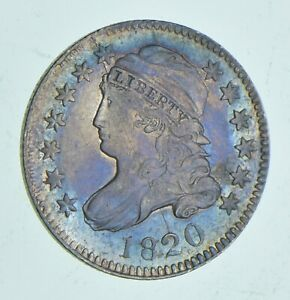 1820 CAPPED BUST DIME   RAINBOW TONED  6066
