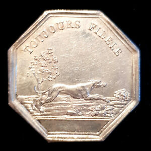 FRANCE 1832 1841 GREYHOUND & MERMAIDS  SUPERB GAMING SILVER JETON