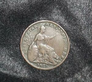 DATED : 1821   ONE FARTHING   COIN   KING GEORGE IIII   GREAT BRITAIN