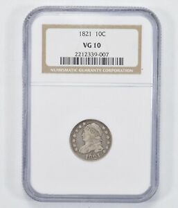 VG10 1821 CAPPED BUST DIME   NGC GRADED  1274