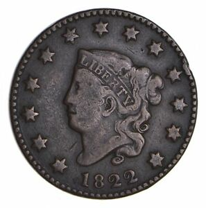 1822 MATRON HEAD LARGE CENT   CIRCULATED  9899
