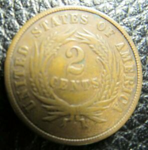 1868 2C TWO CENT PIECE COPPER US TYPE COIN VF CONDITION