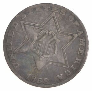 1858 SILVER THREE CENT PIECE   TRIME  5663