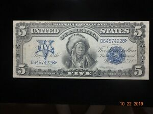 1899 5$ INDIAN CHIEF  SILVER CERTIFICATE  A FLAWLESS JEM SUPER CLEAN  MINTY