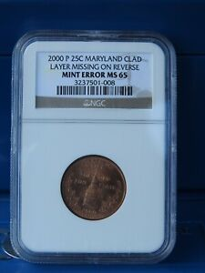 2000 P 25C MARYLAND STATE QUARTER MINT ERROR CLAD LAYER MISSING NGC MS65