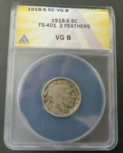 1918 S BUFFALO NICKEL ANACS GRADED GOOD 8 VG8 FS 401 2 FEATHERS ERROR