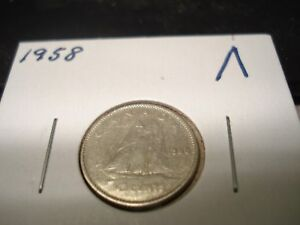 1958   CANADA   SILVER 10 CENT COIN   CANADIAN DIME