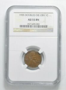 AU55 BN 1955 LINCOLN WHEAT CENT   DOUBLED DIE OBV   GRADED NGC  5073