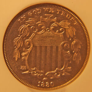 1880 SHIELD NICKEL NGC PF 66 REPUNCHED DATE  BUSINESS STRIKE DIAGNOSTIC