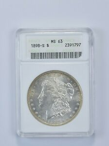 MS63 1898 S MORGAN SILVER DOLLAR   GRADED ANACS  4838