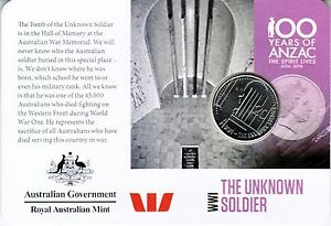 2015 ANZACS REMEMBERED COIN SERIES   DAY 13   THE UNKNOWN SOLDIER 20C COIN