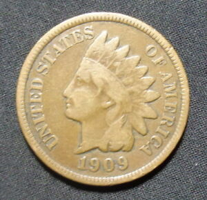 1909 INDIAN HEAD PENNY VG  GOOD  BRONZE ONE CENT COIN