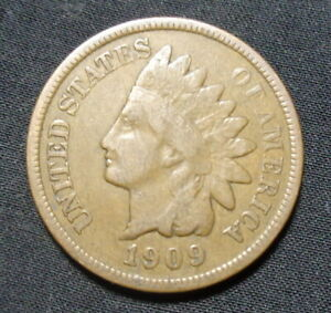 1909 INDIAN HEAD PENNY VG  GOOD  BRONZE ONE CENT COIN B