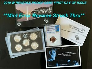 2019 SILVER PROOF SET W/W REVERSE 1C   MINT ERROR NGC PF69RD FIRST DAY OF ISSUE