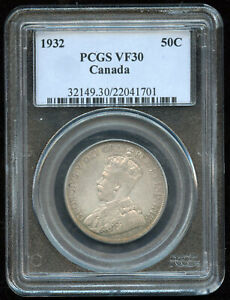 Click now to see the BUY IT NOW Price! 1932 CANADA FIFTY CENTS SILVER COIN   PCGS VF30   KEY DATE