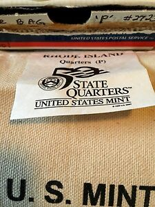 2001 RHODE ISLAND STATE QUARTERS 100 COIN BAG 'P' MINT.   UNOPENED BAG