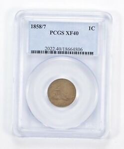 XF40 1858/7 FLYING EAGLE CENT   1858/7 ERROR   GRADED PCGS  1000