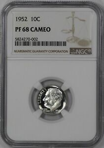 Click now to see the BUY IT NOW Price! 1952 PROOF ROOSEVELT DIME 10C NGC CERTIFIED PF PR 68 CAMEO  002