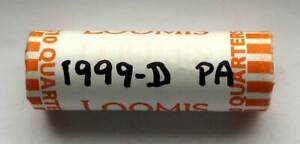 1999 D PENNSYLVANIA QUARTER UNCIRCULATED ROLL  BANK WRAPPED UNC PA D HEADS/TAILS