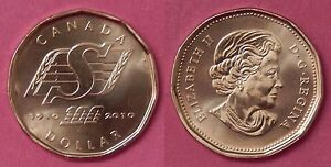 BRILLIANT UNCIRCULATED 2010 CANADA SASKATCHEWAN ROUGHRIDERS 1 DOLLAR