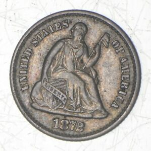 1872 SEATED LIBERTY HALF DIME  6946