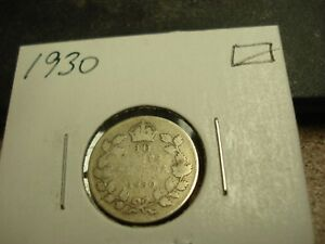 1930   CANADA   SILVER 10 CENT COIN   CANADIAN DIME