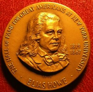 ELIAS HOWE HALL OF FAME FOR GREAT AMERICANS 1971 MEDAL BY FRANK GASPARRO