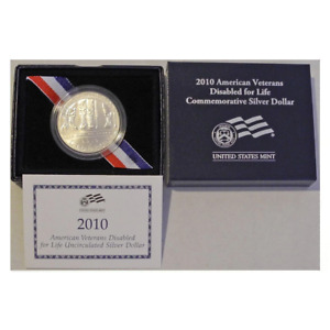 2010 AMERICAN VETERANS DISABLED FOR LIFE COMMEMORATIVE SILVER DOLLAR MINT STATE