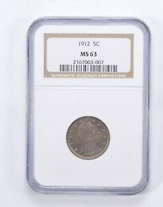 MS63 1912 LIBERTY V NICKEL   TONED   GRADED BY NGC  0009
