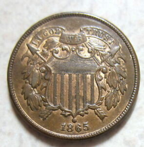 1865 TWO CENT PEICE UNCIRCULATED RED/BROWN