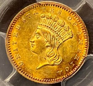 1862 $1 GOLD PCGS MS62 GREAT LUSTER AND TONING