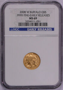 NGC GRADED 2008 W AMERICAN GOLD BUFFALO BURNISHED 1/10 OZ $5   EARLY RELEASES