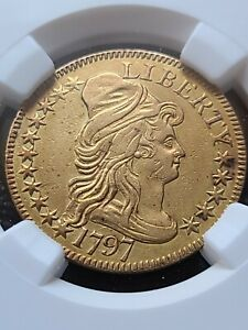 Click now to see the BUY IT NOW Price! 1797 DRAPED BUST 5.00 GOLD HALF EAGLE  16 STAR PCGS AU DETAILS R 6